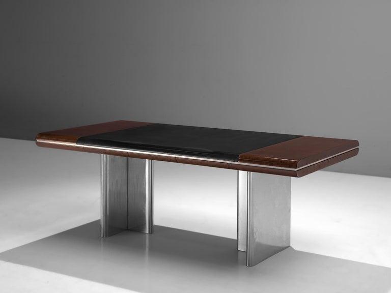 Mid-Century Modern Hans Von Klier Executive Desk in Mahogany and Steel For Sale