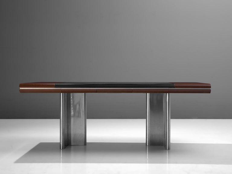 Italian Hans Von Klier Executive Desk in Mahogany and Steel For Sale