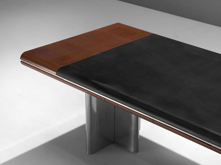 Late 20th Century Hans Von Klier Executive Desk in Mahogany and Steel For Sale
