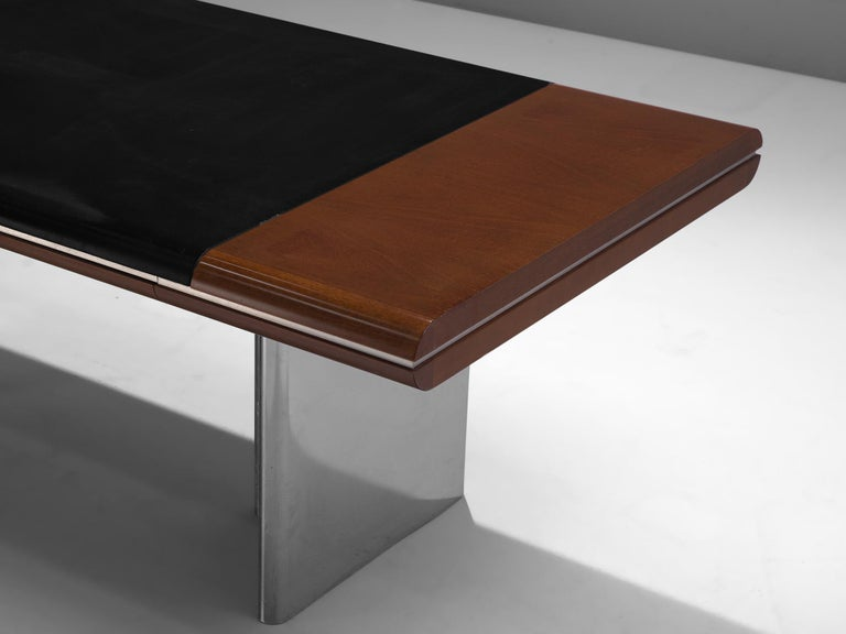 Leather Hans Von Klier Executive Desk in Mahogany and Steel For Sale
