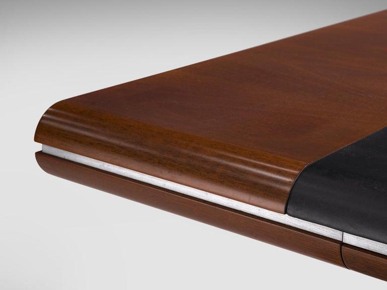 Hans Von Klier Executive Desk in Mahogany and Steel For Sale 2