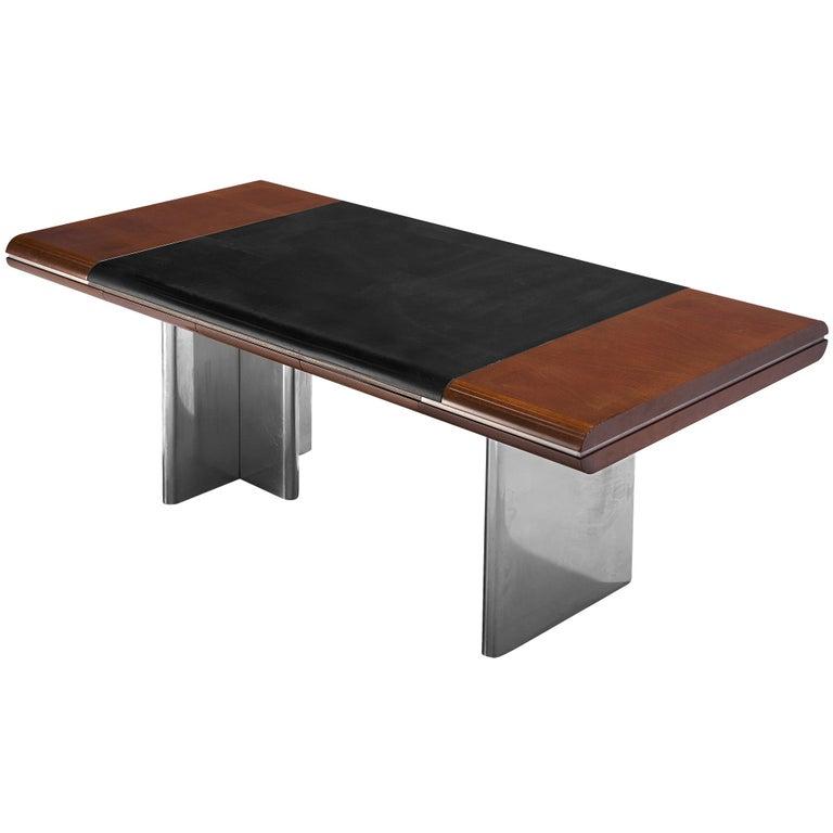 Hans Von Klier Executive Desk in Mahogany and Steel For Sale