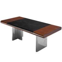 Hans Von Klier Executive Desk in Mahogany and Steel