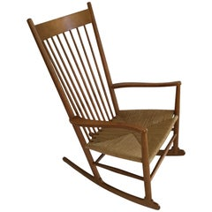 Hans Wagner Rocking Chair J16 with Rush Seat