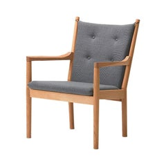 Hans Wegner 1788 Easy Chair, Soaped Oak and Fabric