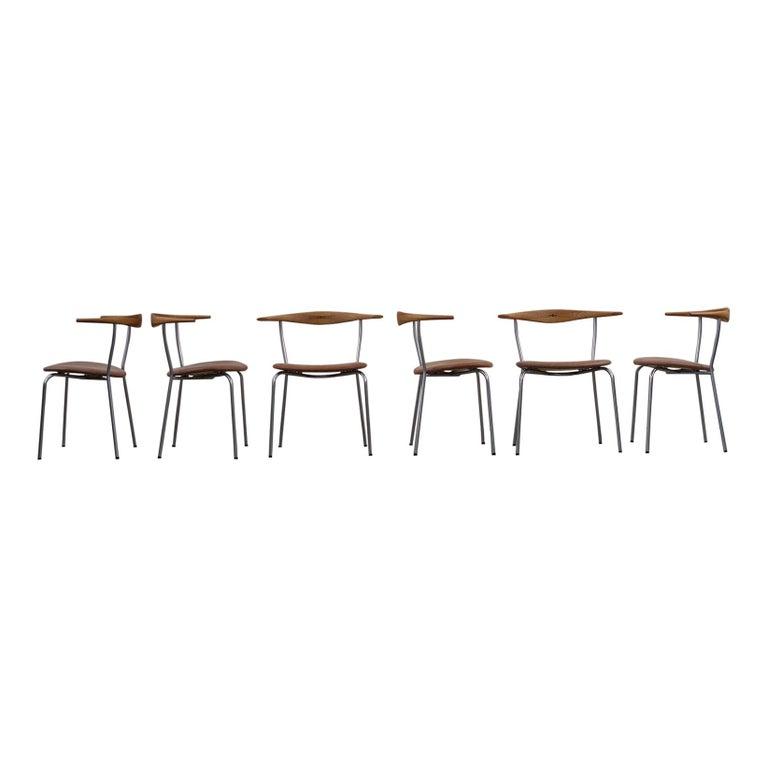 Hans Wegner 6 Little Steel Chairs For Sale