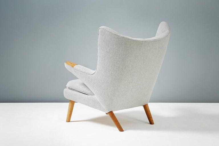 Scandinavian Modern Hans Wegner AP-19 Papa Bear Chair and Ottoman, Oak For Sale