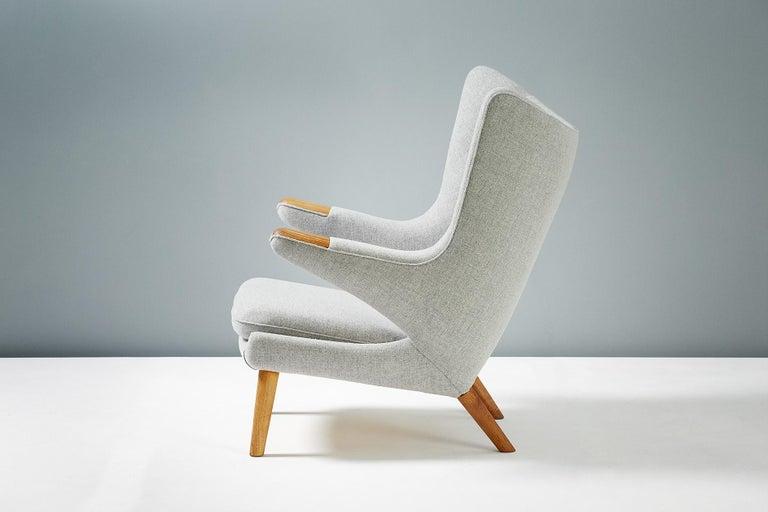 Danish Hans Wegner AP-19 Papa Bear Chair and Ottoman, Oak For Sale