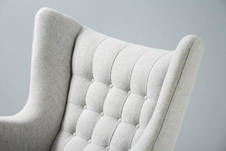 Mid-20th Century Hans Wegner AP-19 Papa Bear Chair and Ottoman, Oak For Sale