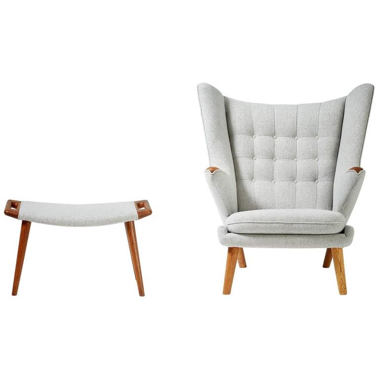 Hans Wegner AP-19 Papa Bear Chair and Ottoman, Oak For Sale