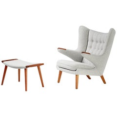 Hans Wegner AP-19 Papa Bear Chair and Ottoman, Teak