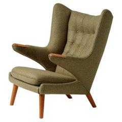 Hans Wegner AP-19 Papa Bear Chair in Green Wool Fabric