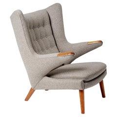 Hans Wegner AP-19 Papa Bear Chair in Grey Wool Fabric