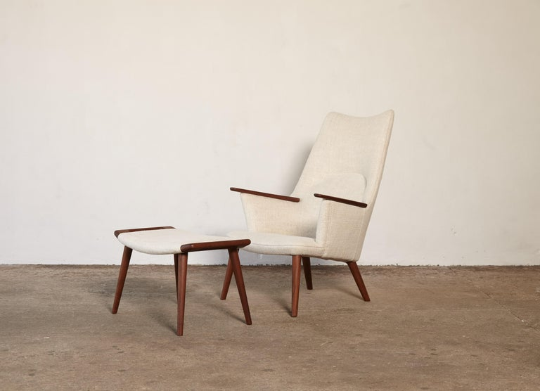 Mid-Century Modern Hans Wegner AP-27 Chair and Ottoman, AP Stolen, Denmark, 1950s