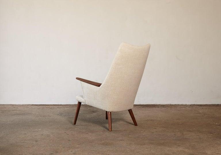 Fabric Hans Wegner AP-27 Chair and Ottoman, AP Stolen, Denmark, 1950s