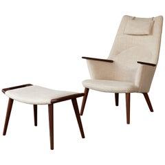 Hans Wegner AP-27 Chair and Ottoman, AP Stolen, Denmark, 1950s