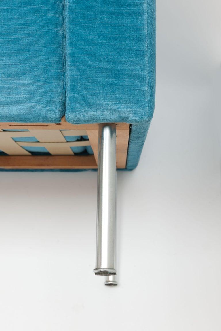 Hans Wegner Arm Chair by AP Stolen Denmark in Electric Blue Velvet For Sale 4