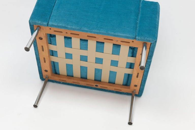Hans Wegner Arm Chair by AP Stolen Denmark in Electric Blue Velvet For Sale 5