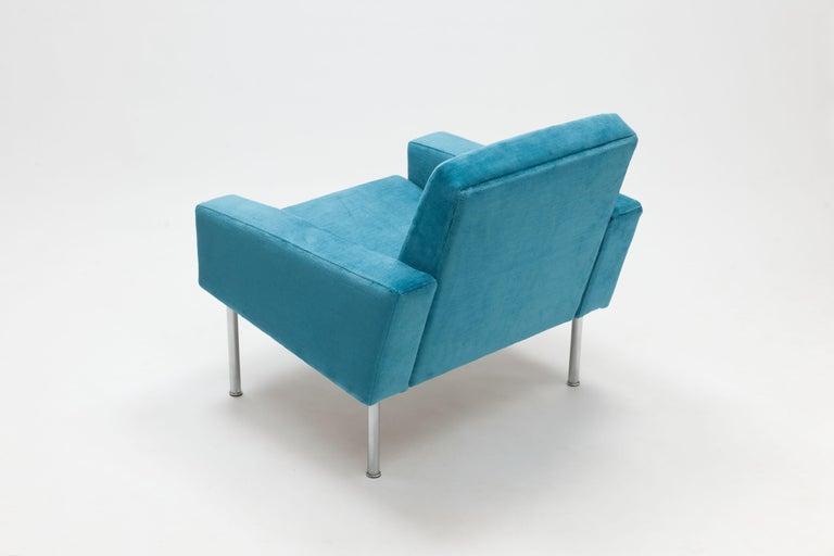 Scandinavian Modern Hans Wegner Arm Chair by AP Stolen Denmark in Electric Blue Velvet For Sale