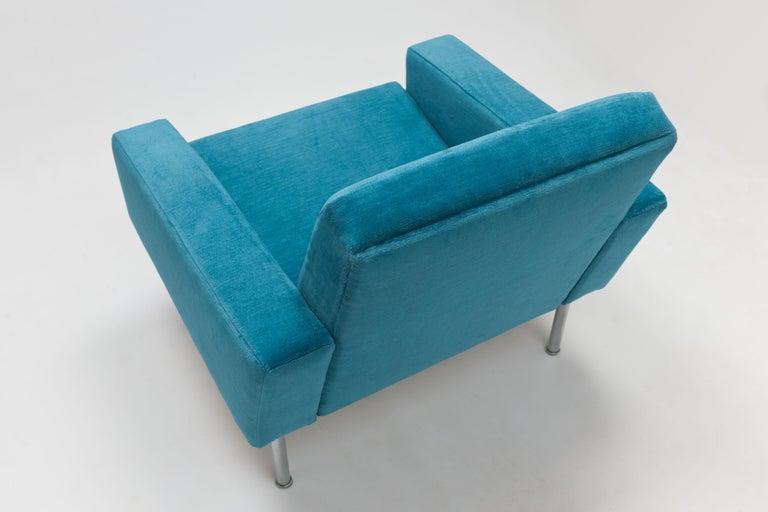 Danish Hans Wegner Arm Chair by AP Stolen Denmark in Electric Blue Velvet For Sale