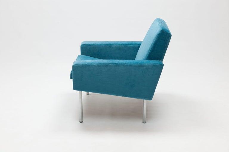Mid-20th Century Hans Wegner Arm Chair by AP Stolen Denmark in Electric Blue Velvet For Sale