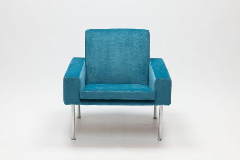 Stainless Steel Hans Wegner Arm Chair by AP Stolen Denmark in Electric Blue Velvet For Sale