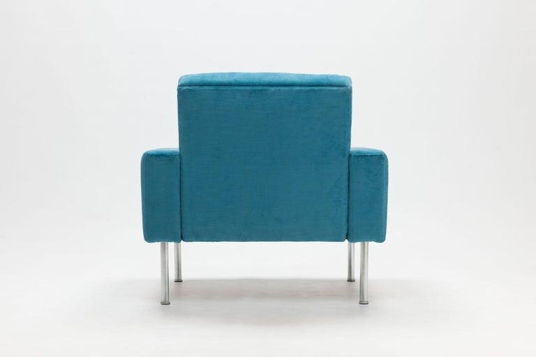 Hans Wegner Arm Chair by AP Stolen Denmark in Electric Blue Velvet For Sale 1