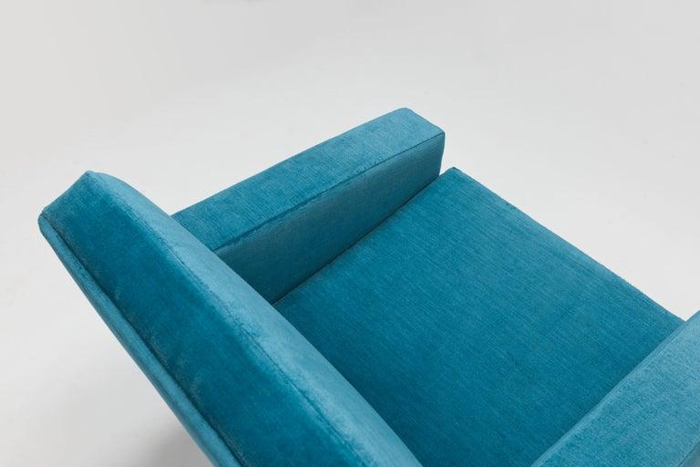 Hans Wegner Arm Chair by AP Stolen Denmark in Electric Blue Velvet For Sale 2