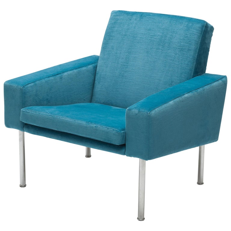 Hans Wegner Arm Chair by AP Stolen Denmark in Electric Blue Velvet For Sale