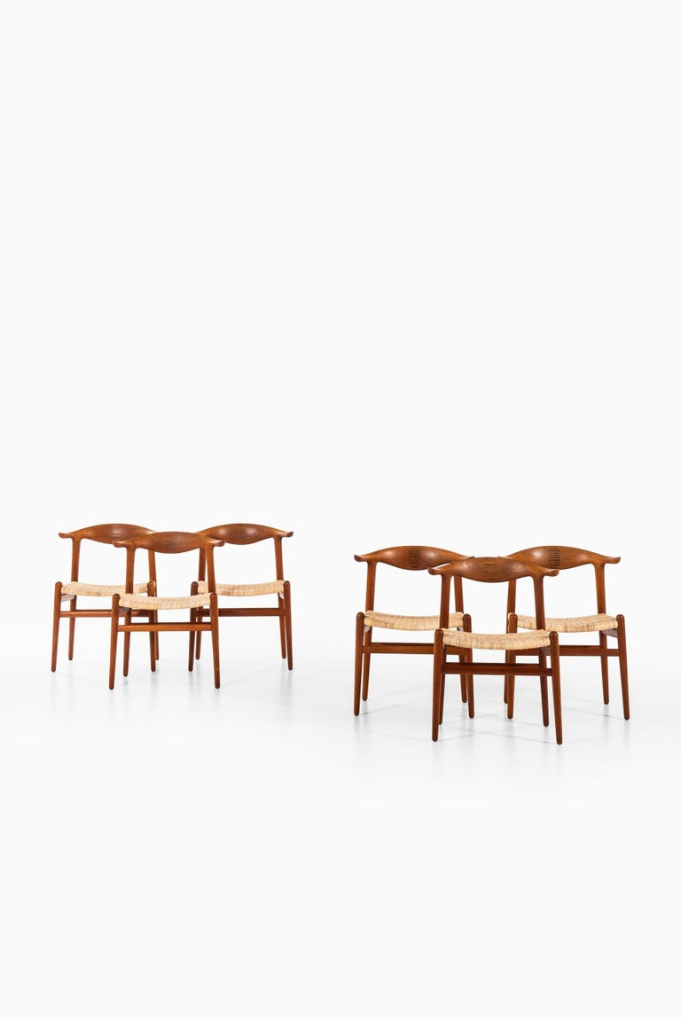 Very rare set of 6 cowhorn armchairs model JH-505 designed by Hans Wegner. Produced by cabinetmaker Johannes Hansen in Denmark.