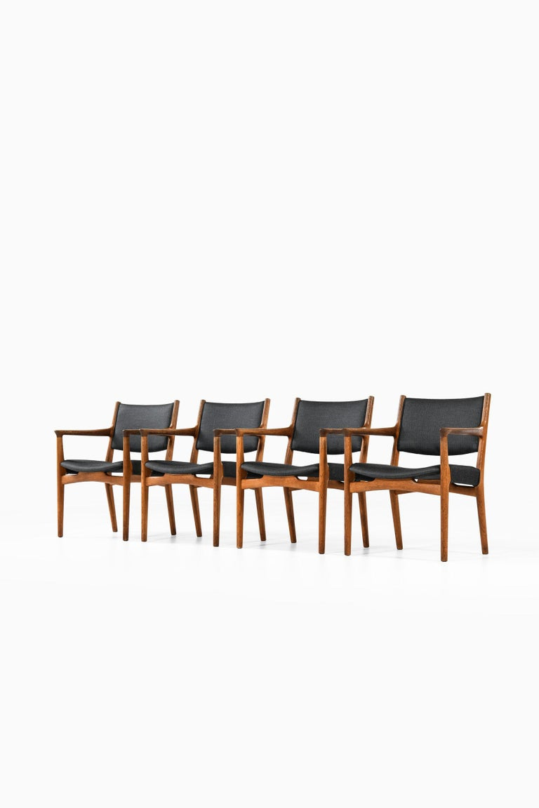 Very rare armchairs model JH-525 designed by Hans Wegner. Produced by cabinetmaker Johannes Hansen in Denmark. Matching set of 4 more chairs available.
