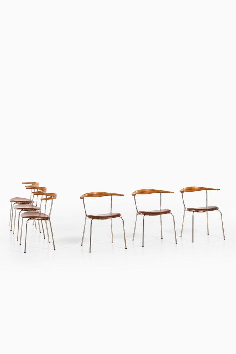 Rare set of 6 armchairs model JH-701 designed by Hans Wegner. Produced by Johannes Hansen in Denmark.
