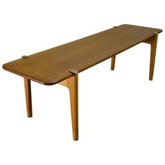 Hans Wegner Bench Coffee Table in Oak with Teak Tabletop for Johannes Hansen