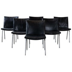 Hans Wegner Black Leather and Chrome Airport Chairs, Set of 6