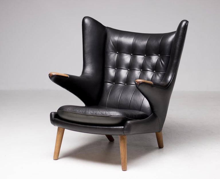 Hans Wegner Black Leather Pair of Papa Bear Chairs with Ottoman for A.P. Stolen For Sale 6