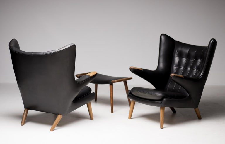 Mid-Century Modern Hans Wegner Black Leather Pair of Papa Bear Chairs with Ottoman for A.P. Stolen For Sale