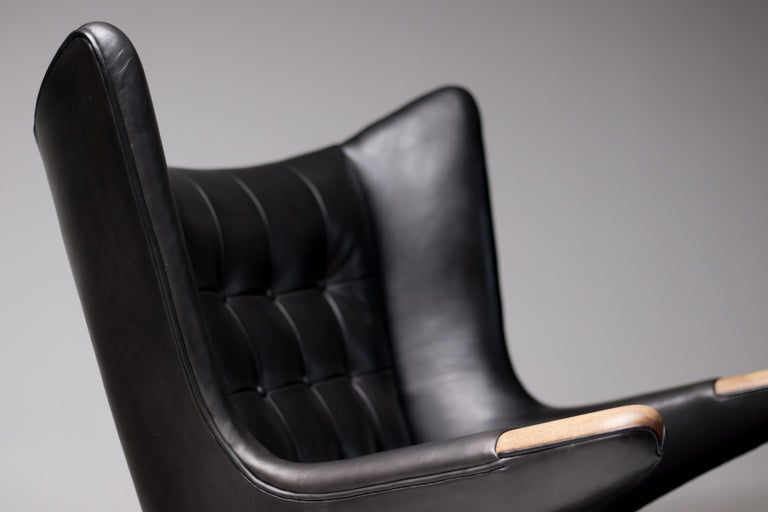 Mid-20th Century Hans Wegner Black Leather Pair of Papa Bear Chairs with Ottoman for A.P. Stolen For Sale