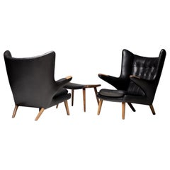 Hans Wegner Black Leather Pair of Papa Bear Chairs with Ottoman for A.P. Stolen