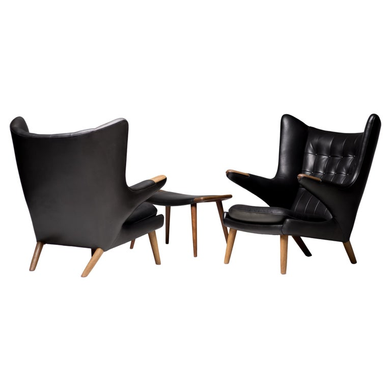 Hans Wegner Black Leather Pair of Papa Bear Chairs with Ottoman for A.P. Stolen For Sale