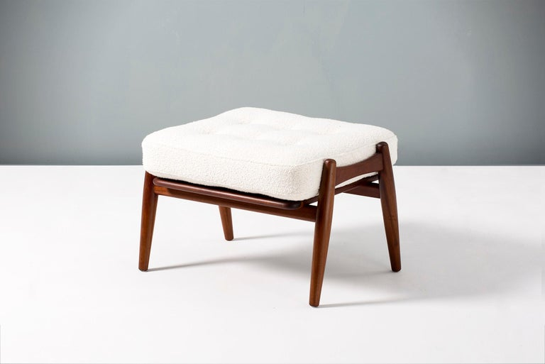 Hans Wegner Boucle Ottoman, Afromosia Teak In Excellent Condition For Sale In London, GB