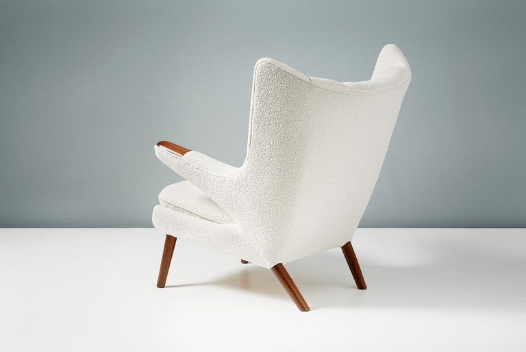 Hans Wegner Boucle Papa Bear Chair and Ottoman For Sale 3