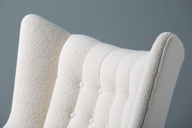 Hans Wegner Boucle Papa Bear Chair and Ottoman For Sale 4