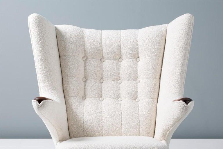 Scandinavian Modern Hans Wegner Boucle Papa Bear Chair and Ottoman For Sale