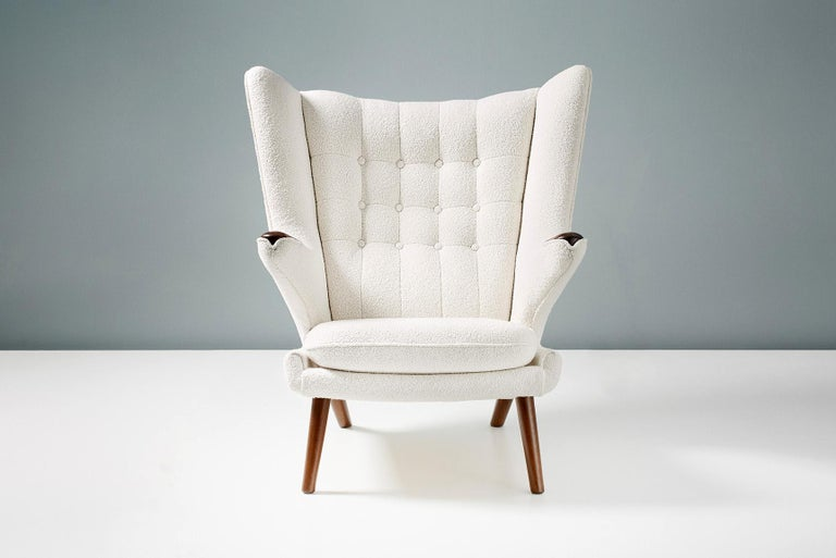 Danish Hans Wegner Boucle Papa Bear Chair and Ottoman For Sale