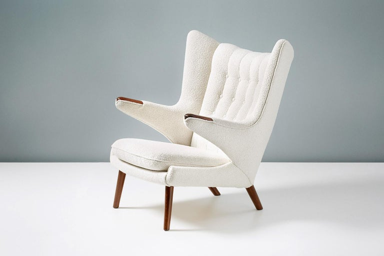 Mid-20th Century Hans Wegner Boucle Papa Bear Chair and Ottoman For Sale