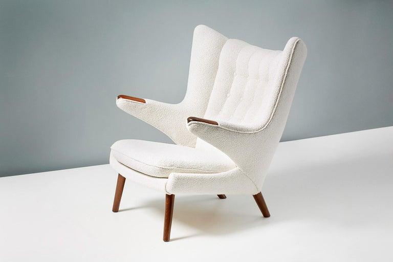 Fabric Hans Wegner Boucle Papa Bear Chair and Ottoman For Sale