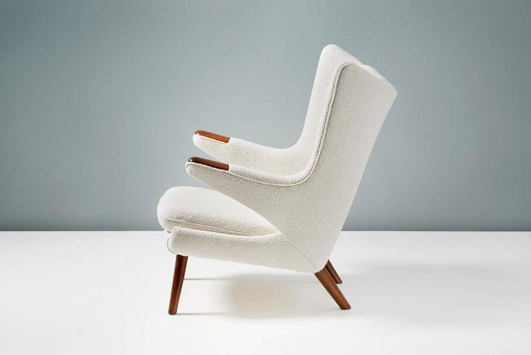 Hans Wegner Boucle Papa Bear Chair and Ottoman For Sale 2