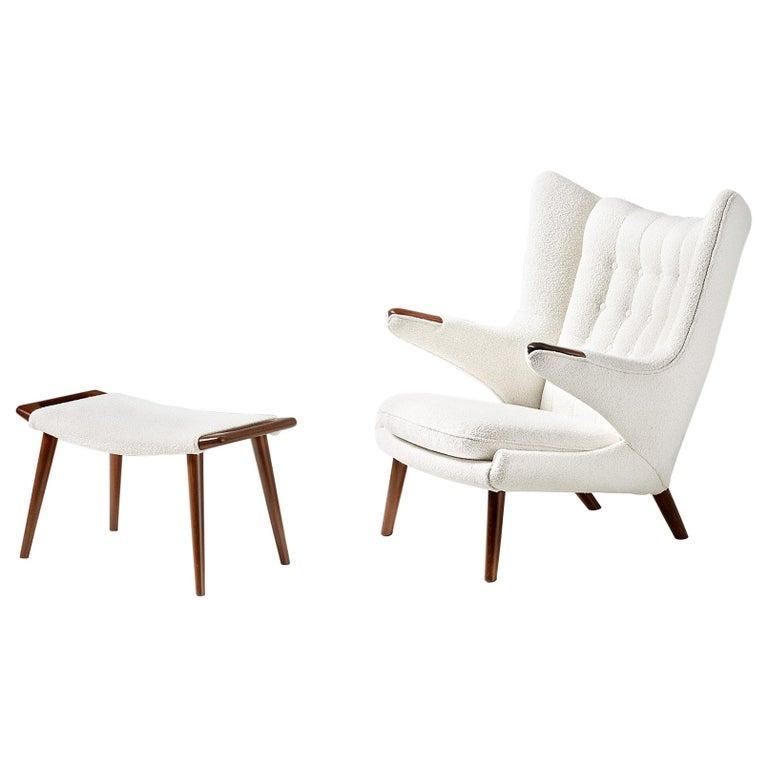 Hans Wegner Boucle Papa Bear Chair and Ottoman For Sale