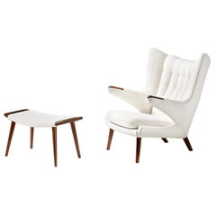 Hans Wegner Boucle Papa Bear Chair and Ottoman