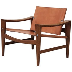 "Hans Wegner ""Bukkestolen"" Solid Oak Safari Lounge Chair"